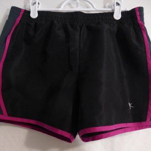 DANSKIN medium 8-10 black & purple exercise shorts